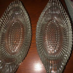 Dining - 7 vintage pressed glass relish/ice cream dishes
